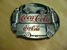 Coca-Cola Belt Buckle Trucks, Banner, & Bottles 1991 Siskiyou Buckle Co. O-90
