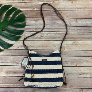Sun N Sand Woven Cross Body Purse Bag New Blue Cream Stripes Tassel Beads Beach