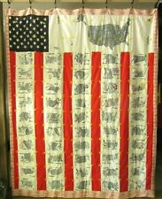 50 State Americana Quilt Hand Embroidered Reversible State Birds Flower Year