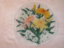 "Peggy Karr Antique Floral Fused Art Glass Plate 11-1/4"" Round, Displayed Only"