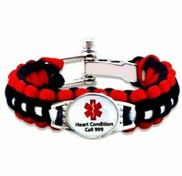 Heart Condition Angina Pacemaker 999 Medical Alert Bracelet Silicone Paracord