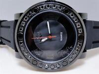 Mens Techno Com KC Joe Rodeo Master Floating Genuine Black Diamond Watch 3.0 Ct