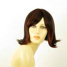 perruque femme 100% cheveux naturel carré méchée noir/rouge EMY 1b410