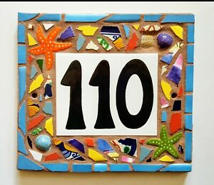 Custom TILE MOSAIC HOUSE NUMBER Address Sign NAME PLAQUE Mosaic Art HAND MADE