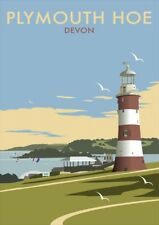 Plymouth Hoe Devon | Lighthouse | Vintage Poster | A1, A2, A3
