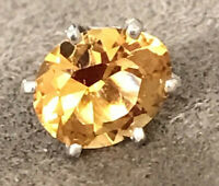 CITRINE TIE PIN  NATURAL 9x8mm SET IN STERLING SILVER  EXCELLENT CLARITY & COLOR