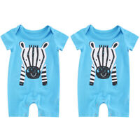 Neugeborene Baby Jungen Mädchen Sommer Kurzarm Bodysuit Overall Tier Strampler