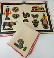 Vintage Spanish Placemats & Napkins Linen Black Red Hacienda Rooster Matador EUC