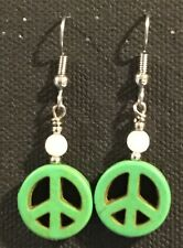 PEACE Earrings Surgical Hook New Green Color Howlite Dyed (small) B