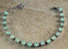 Silver Elegant Green Fire Opal Round Bracelet WB20104