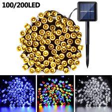Outdoor 100/200 Led Solar String Lights 8 Lighting Modes Waterproof Fairy Light