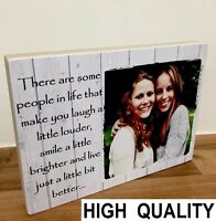 """7x5"""" Personalised Wooden Photo & Quote Block Friendship Best Friend Present Gift"""