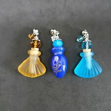 3pc Murano Glass Vial Pendants Oil Perfume Aromatherapy Bead Charm (z)