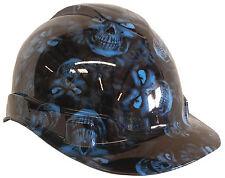 Hard Hat Light Blue Hades Skulls 6 Point Harness w/ Free BRB Customs T-Shirt