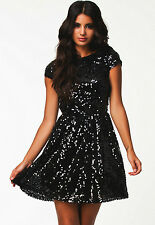 Sexy Black & Silver Sequin Dress Open Back Formal Clubwear Gothic Cocktail M