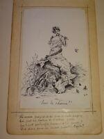 Ecole FRANCAISE XIX DESSIN SCENE GALANTE FEMME FLUTE MUSIQUE OISEAUX POESIE 1900