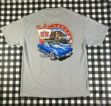 Richies Diner Car Corvette C2 Burger American Fast Food Grey Size XL T Shirt