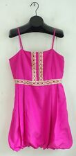 NWT TOMMY HILFIGER Hot Pink & Gold Sparkly Embroidered Pleated Dress Size 16