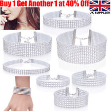 Women Fashion Full Crystal Rhinestone Choker Necklace Bracelet Wedding For Women