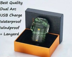 Tactical Gear Windproof Waterproof Dual Arc Plasma Electric Lighter USB Men Gift