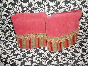 AVANTI BRICK RED GREEN RUST CHENILLE STRIPE (PAIR) BATH TOWELS 24 X 47