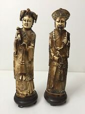"Pair Antique Chinese Handcarved Resin Figurine Statues, 10"" Tall x 2 1/2"" Widest"