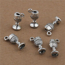 10Pcs Vintage Alloy 3D Cup Shaped Pendants Charms Crafts Findings 20mm