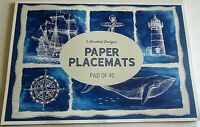 """NAUTICAL Paper Placemats 40 CT 16"""" X 11"""" 2 Designs  NAUTICAL ICONS/SHIP'S ANCHOR"""