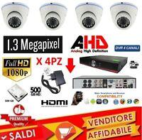 KIT VIDEOSORVEGLIANZA DVR 4 CANALI 4 TELECAMERA INFRAROSSI+DVR+ALIM+DOME+HD 500