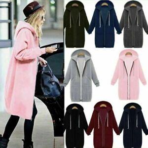 Womens Plus Size Hooded Jacket Coats Long Sleeve Zip Up Hoodie  Jumper Cardigan