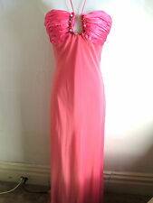 womens pink long dress ball gown size 10 off shoulder sleeveless plunge neck