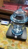 "Vintage Light Blue Apothecary Glass Cookie Jar / Candy Jar - 9.75"" tall 4+lbs"