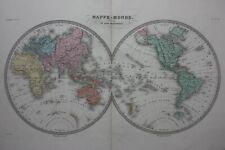 Original antique DOUBLE HEMISPHERE WORLD MAP, Malte-Brun, Huot, c.1882