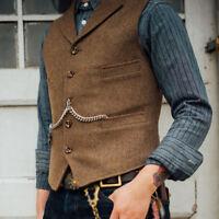 Retro Men's Wool Blend Vests Jackets Business Formal Dress Coats Short Waistcoat