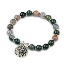 Natural Indian Agate Beads Stretch Bracelets Tibetan Style Alloy Findings P534