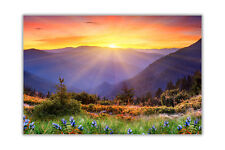 Sunrise Over Mountains Landscape Poster Prints Wall Art Decoration Pictures