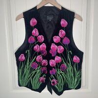 Vintage Tenango Guatemala M Black Velvet Pink Floral Vest Tulips Garden Cottage