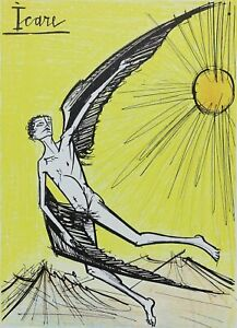 Buffet Bernard: Ikarus - Lithografie Originell - Referenziert, 1967 Von Mourlot