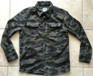 OLD NAVY Boys Fleece Camo Button Down Shirt with Collar-Size Large(10-12)-EUC