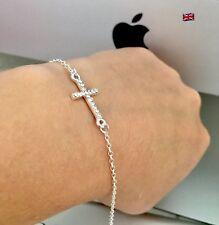 Genuine 925 Sterling Silver White Crystal Cross Christian  GIFT Bracelet Xmas AD