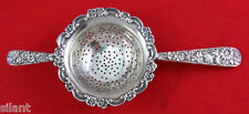 OLD Kirk REPOUSSE Sterling Silver 2-HANDLE TEA STRAINER