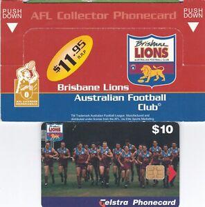 AUSTRALIA TELSTRA  $10 BRISBANE LIONS FOOTBALL CLUB PHONECARD SCARCE