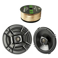 """2X Polk Audio 6.5"""" 300W Car/Boat/ATV Speakers, Enrock 14 AWG Gauge 50' Wire"""