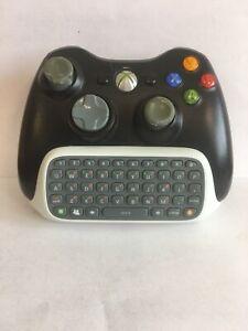 Microsoft Xbox 360 White Chatpad Keyboard Attachment W/Black Xbox Controllers