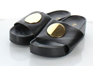 H27 $268 Women's Sz 8.5 M Tory Burch Patos Leather Slide In Black
