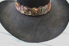 "Feather Hatband New Leather Tie Rodeo Fashion 1 1/2"" Hat Band Horse Show Parade"