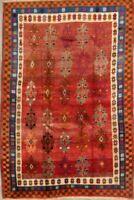 Vintage Tribal Geometric Gabbeh Area Rug Wool Hand-Knotted Oriental Carpet 5x8