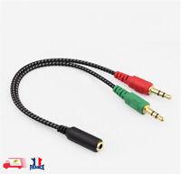 3.5mm Audio Stéréo Mâle à 2 Femelle Écouteur Micro Y ADAPTATEUR RÉPARTITEUR