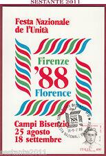 ITALIA MAXIMUM MAXI CARD FESTA NAZ. L'UNITà FIRENZE 1988 CAMPI BISENZIO FI B137