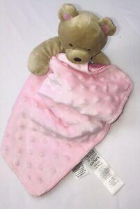 Carters Child Of Mine Pink Bear Baby Blanket Minky Dot Satin Back Lovey